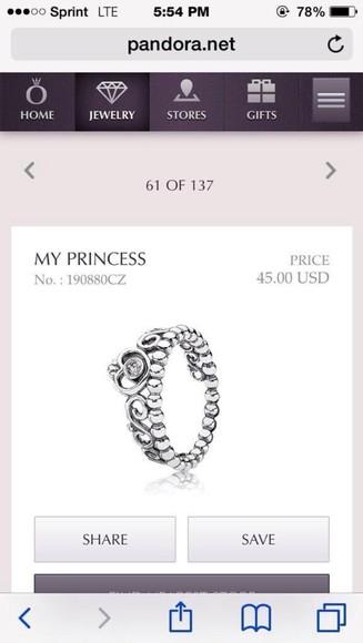 princess hair accessories ring silver ring