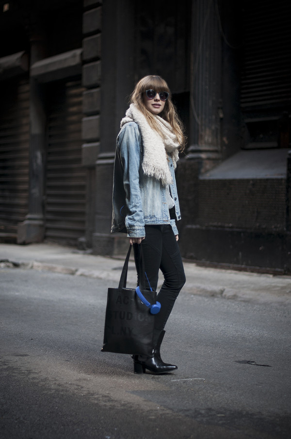 just another me bag jeans jacket blouse shoes jewels scarf sunglasses