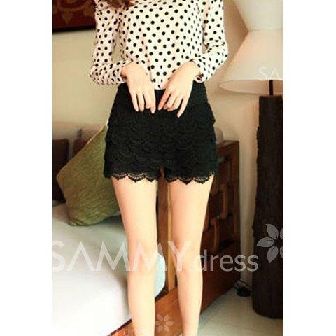 New style elastic waist lace embellished black lace shorts for women (black,one size)