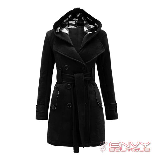 LADIES BELTED BUTTON COAT WOMENS HOOD JACKET TOP 8-14 | Amazing Shoes UK