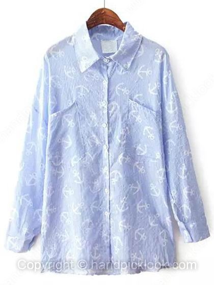 Blue Lapel Long Sleeve Anchor Print Chiffon Blouse - HandpickLook.com