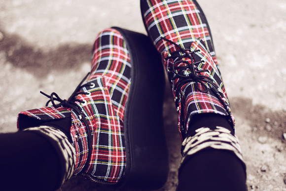 plaid tartan shoes boots unif envishoes