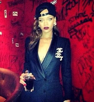 jacket rihanna style chanel style jacket black blazer bucket hats rihanna nails red lipstick jewels