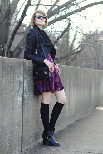 district of chic blogger purple dress shearling jacket sunglasses jewels sweater jacket dress socks shoes bag