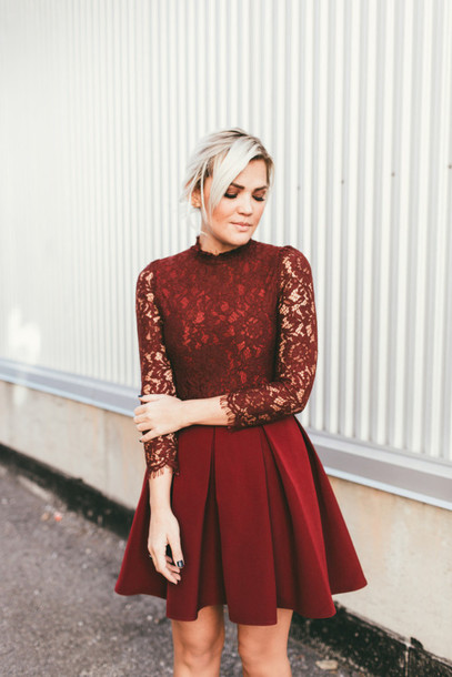 Dress: tumblr, red dress, mini dress, pleated dress, red ...