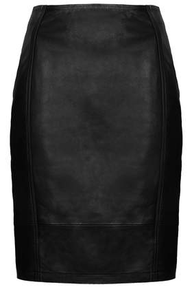 Leather Panel Pencil Skirt - Topshop USA