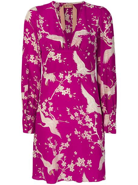 No21 dress print dress women print silk purple pink