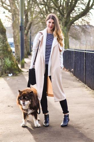 thank fifi blogger coat sweater t-shirt pants shoes bag jewels