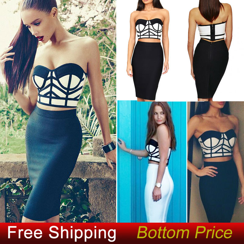 Aliexpress.com : Buy Promotion Cheap New Arrival Autumn Strapless Short Vest Black And White Sexy Ladies 2 Piece Celebrity Bandage Dress HL061 from Reliable dress full suppliers on Lady Go Fashion Shop