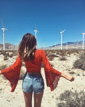 tuula,blogger,denim shorts,summer shorts,boho,bell sleeves,crop tops,orange,red top,burgundy,summer outfits