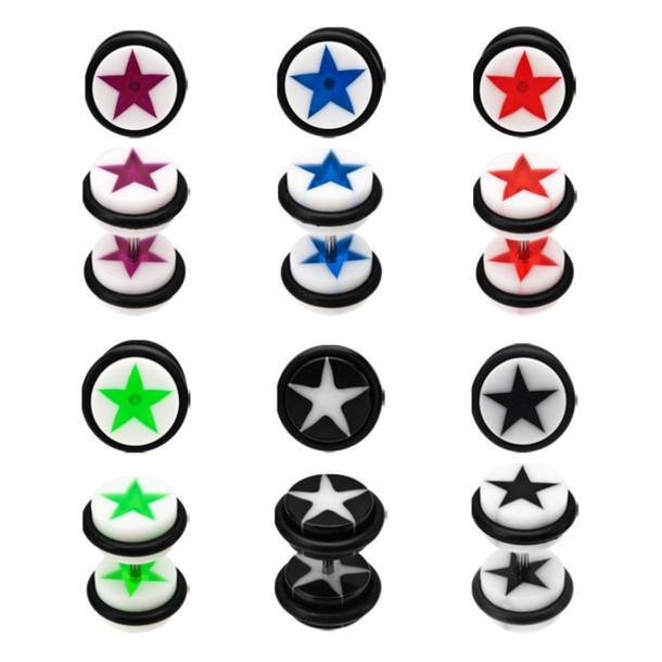 jewels ear plug faux gauge rubber rubber bands circle stars white star white black black earrings white earrings punk grunge soft grunge metal post acrylic ears cool steel stainless steel goth red blue green purple ear plug faux plugs earrings jewelry body jewery piercing ear piercings stainlessteel punk rock hipster punk pop punk grunge accessory grunge jewelry