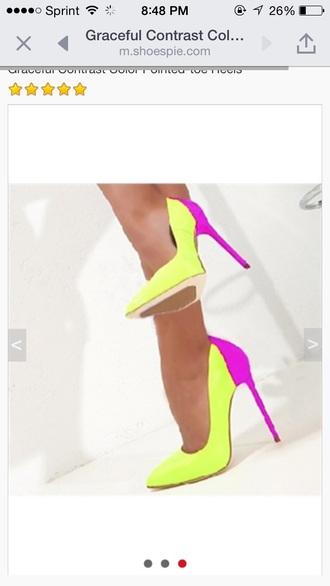 shoes neon neon yellow heels heels pumps two tone bright