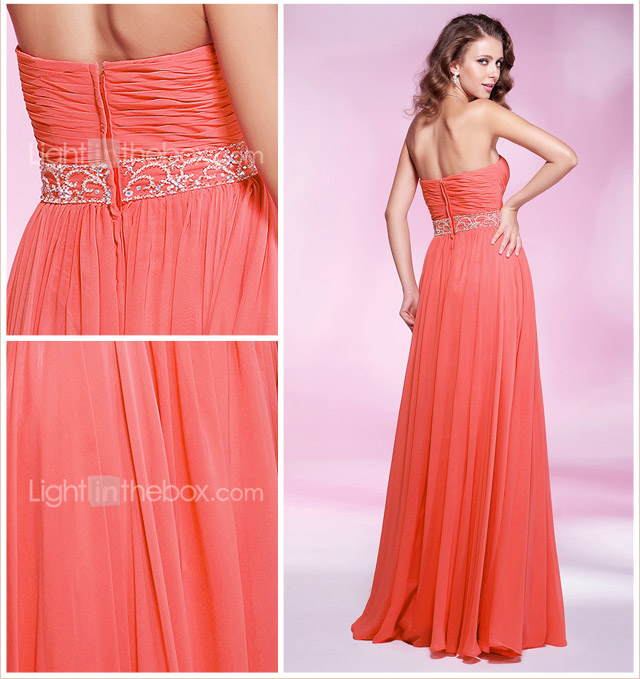 Sheath/ Column Sweetheart Floor-length Chiffon Evening/Prom Dress - USD $ 98.99
