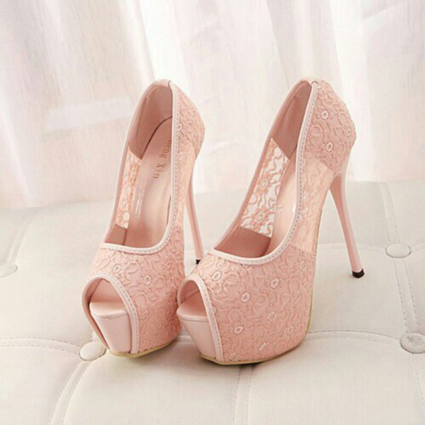 Shoes: baby pink, heels, high heels, girl, women, female, pink ...