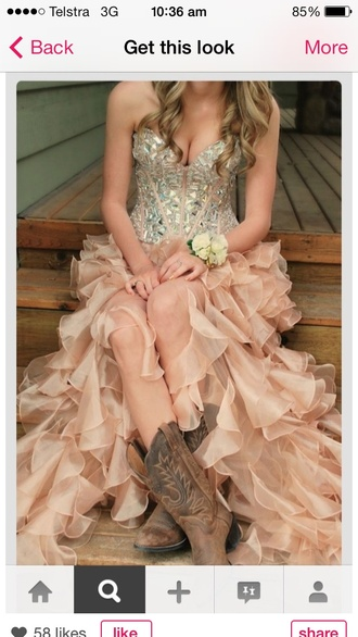 dress country dress boots pink ruffle cowgirl country style beautiful