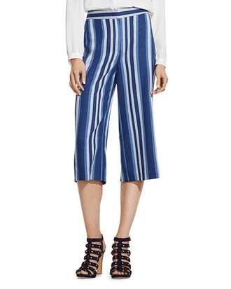 pants culottes stripes blue and white