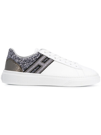 glitter women sneakers lace leather white shoes