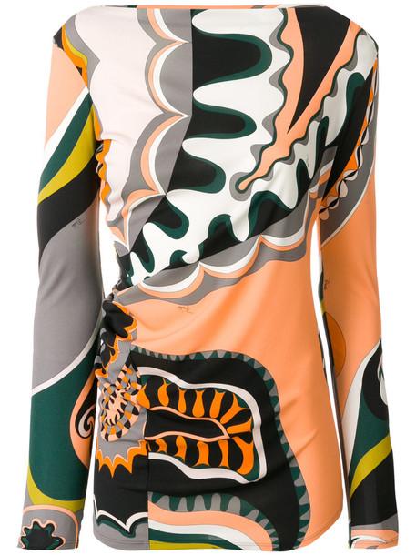 Emilio Pucci - printed slash neck top - women - Silk/Viscose - 42, Black, Silk/Viscose