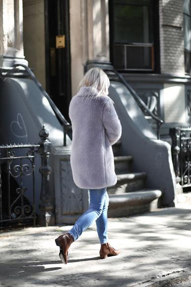 jeans blogger fur fall outfits the fashion guitar sunglasses fur coat