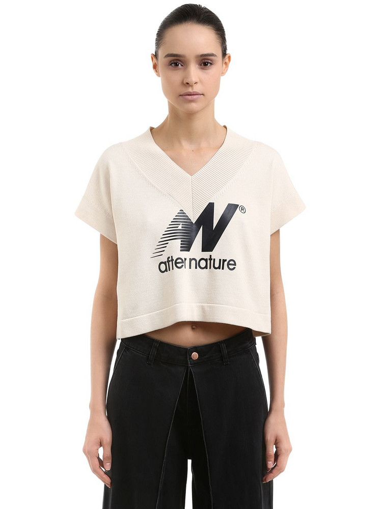 AALTO After Nature Print Cotton Crop Top in ivory