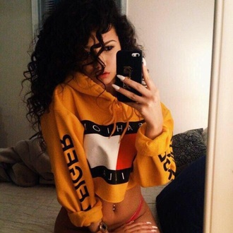 shirt hoodie pullover crop tops cropped sweater cropped hoodie tommy hilfiger crop top tommy hilfiger top oversized sweater oversized style fashion sweater yellow top