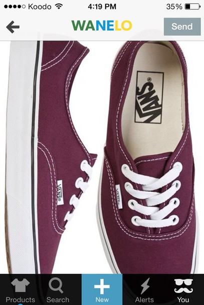 25807b40e2 shoes vans sneakers authentic maroon burgundy deep red white sole white  laces