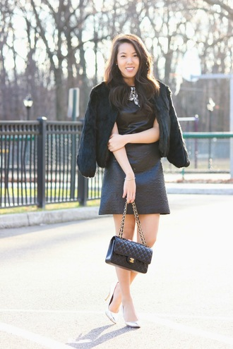 refined couture blogger faux fur jacket black dress jacket dress jewels shoes bag black fur jacket