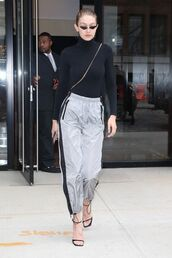 pants,top,sandals,model off-duty,streetstyle,gigi hadid,fall outfits,sweatpants,sunglasses