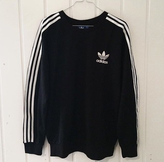 sweater adidas stripes black white black and white