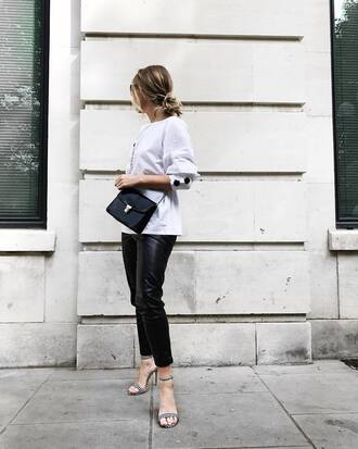 shoes leather pants grey top black bag tumblr sandals sandal heels high heel sandals pants black pants top bag