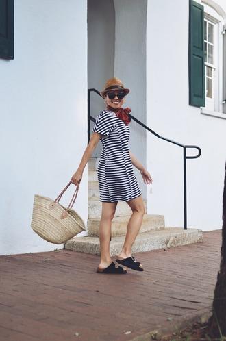 mysmallwardrobe blogger shoes dress scarf hat basket bag striped dress felt hat birkenstocks summer outfits
