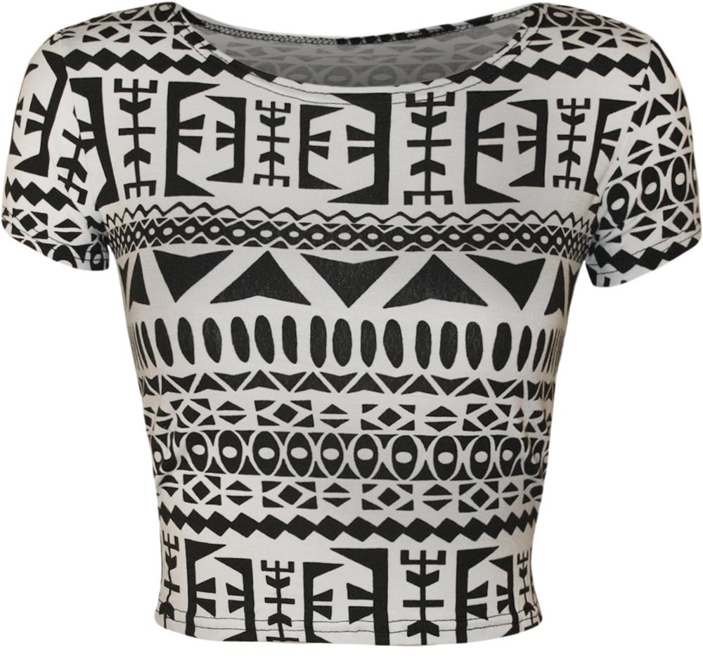 New women animal aztec skull camo print cap sleeve short crop top size 4