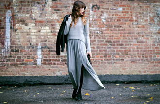the marcy stop blogger jacket bag grey slit skirt fall outfits slit maxi skirt
