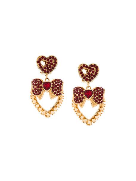 Dolce & Gabbana bow heart women earrings grey metallic jewels