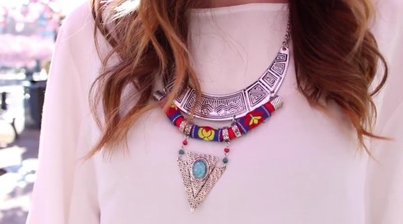 jewels rope turquoise necklace boho hippie boho necklace statement necklace white shirt silver hippy necklace hippie necklace bohemian necklace