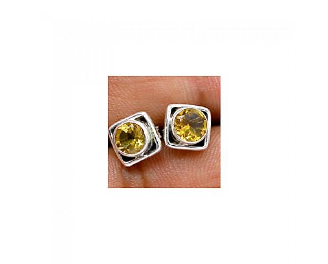 Stunning 925 sterling silver Gemstone Citrine Stud