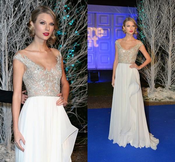 celebrity style evening dress gown prom dress fashion chiffon white dress elegant long prom dress vestidos de noiva 2014 730060