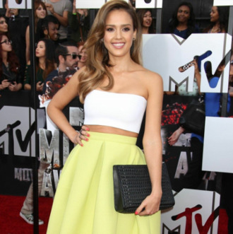 jessica alba tube top skirt
