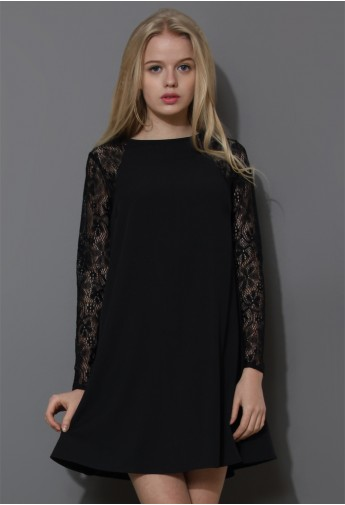 Relaxed Lace and Crepe Panel Dress in Black - Retro, Indie and Unique Fashion