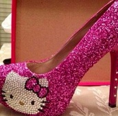 shoes,pink,hello kitty,glitter