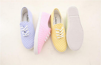 shoes sneakers dotted shoes polka dots pastel pastel shoes summer fashion vintage girls sneakers girly shoes girly multicolor