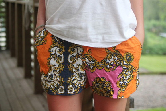 orange shorts blue shorts shorts vintage pattern baroque pink shorts printed shorts flowered shorts colorful shorts