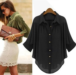 Aliexpress.com : buy free shipping summer women's shirts korea elegant blouse formal irregular sweep loose chiffon shirt top from reliable shirt sleeve suppliers on best  of  best