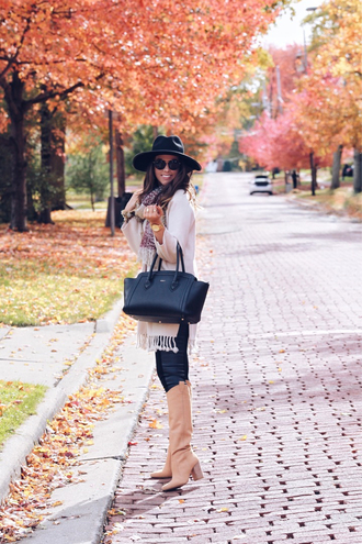fashionably kay blogger cardigan leggings shoes scarf hat fall outfits felt hat handbag knee high boots nude boots