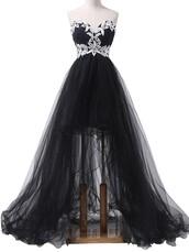 dress,prom dress,black,high low,style,fashion,pretty,gorgeous,tulle skirt,stylish,sweetheart,black dress,asymmetrical,lace dress,tulle dress,maxi,strapless,black long dresses