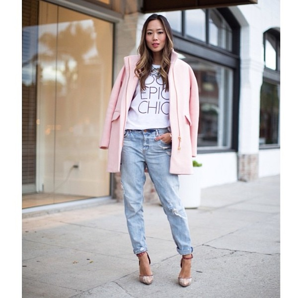 jacket pink jeans shirt shoes
