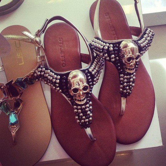 shoes sandals flat sandals skulls silver black