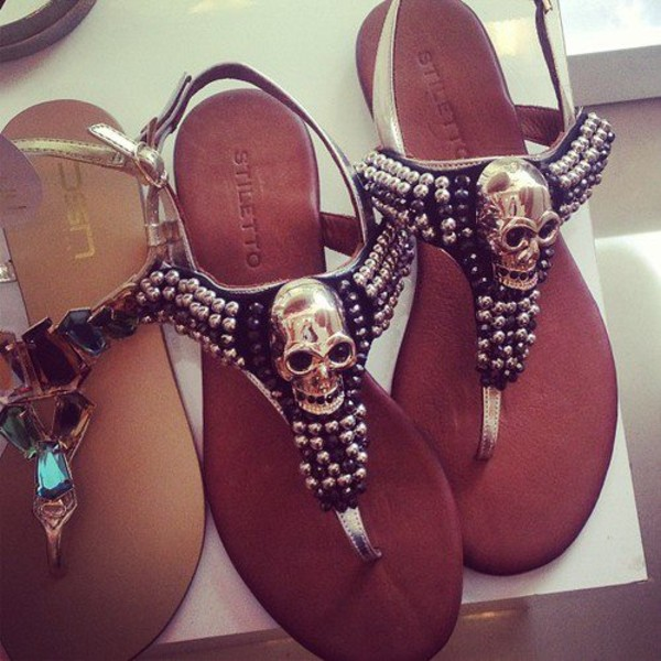 shoes sandals skull silver flat sandals black