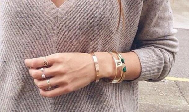 jewels bangels gold bracelets sweater