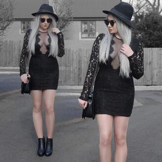 sammi jackson blogger sunglasses dress bag shoes black dress grey hair ankle boots all black everything